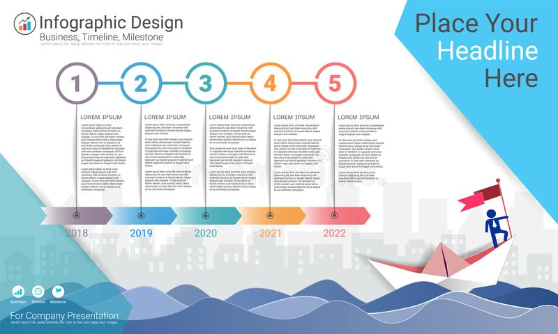 Biznesowy infographics szablon, kamień milowy linia czasu lub Drogowa mapa z Proces flowchart 5 opcjami, ilustracja wektor