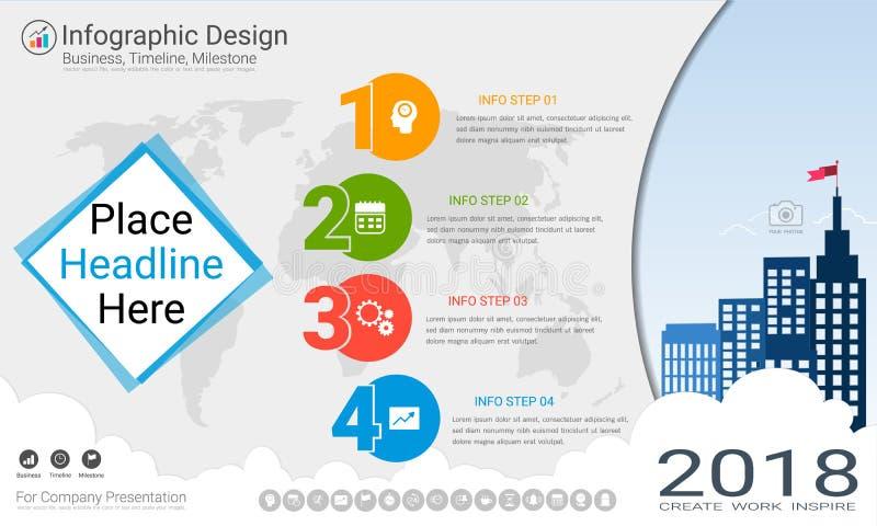 Biznesowy infographics szablon, kamień milowy linia czasu lub Drogowa mapa z Proces flowchart 4 opcjami, ilustracji