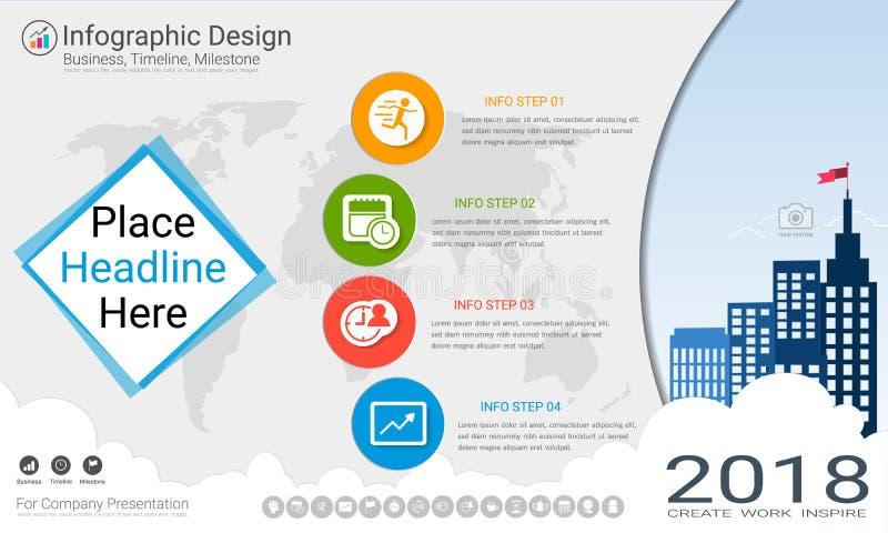 Biznesowy infographics szablon, kamień milowy linia czasu lub Drogowa mapa z Proces flowchart 4 opcjami, ilustracja wektor