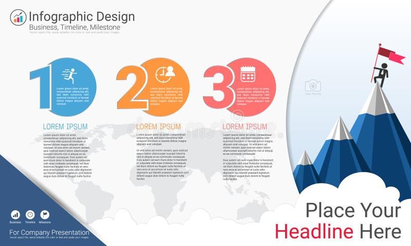 Biznesowy infographics szablon, kamień milowy linia czasu lub Drogowa mapa z Proces flowchart 3 opcjami, ilustracja wektor