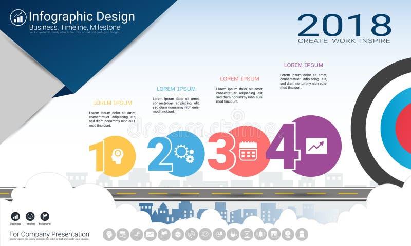 Biznesowy infographics szablon, kamień milowy linia czasu lub Drogowa mapa z Proces flowchart 4 opcjami, royalty ilustracja