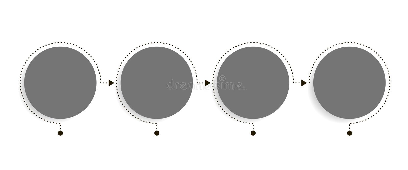 Biznesowy infographics szablon Linia czasu z 4 okrąg strzała krokami, cztery numerowej opci Wektorowy element ilustracja wektor