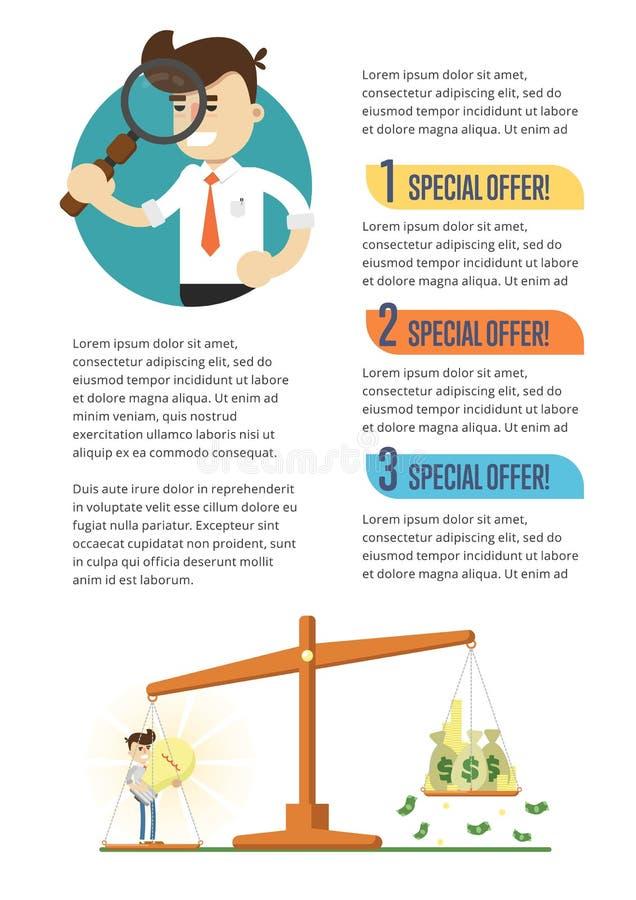 Biznesowy infographics sztandar z biznesmenami royalty ilustracja
