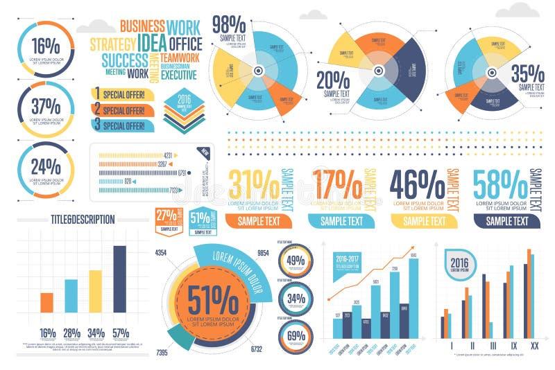 Biznesowy infographics ustawiający z różnym diagramem ilustracja wektor