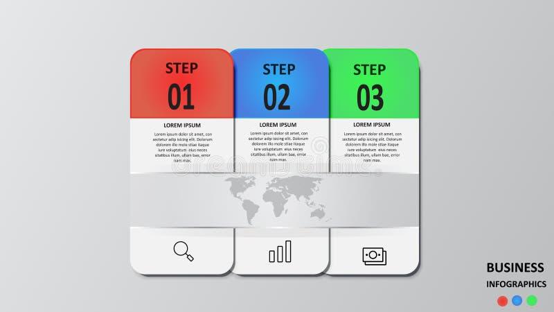 Biznesowy infographics w postaci barwionych prostokątów z tekstem i ikonami 10 eps ilustracji