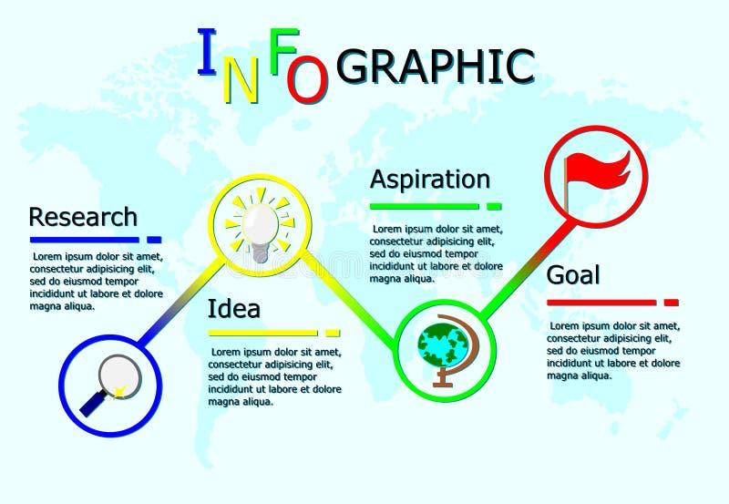 Biznesowy infographics, Wektorowy liniowy infographic element, obieg z globalnym mapy tłem royalty ilustracja