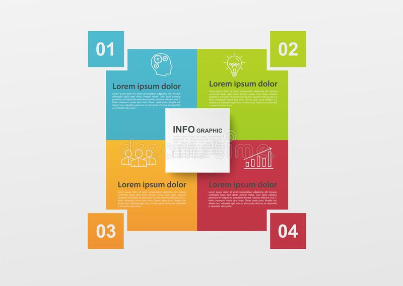 Biznesowy infographics z 4 krokami kolorowymi procesami lub, blokowy diagram Infographic elementy dla ewidencyjnego wykresu, diag ilustracji