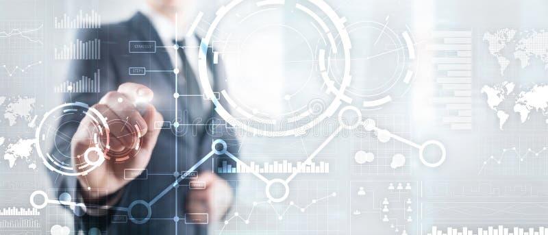 Biznesowy interfejs mieszał medialnego dwoistego ujawnienia mapy wykresu pieniężnego diagram i ikonę na wirtualnym ekranie Innowa royalty ilustracja