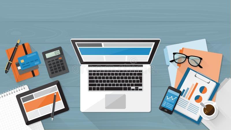 biznesowy kalkulatora desktop dzienniczka pióro ilustracja wektor