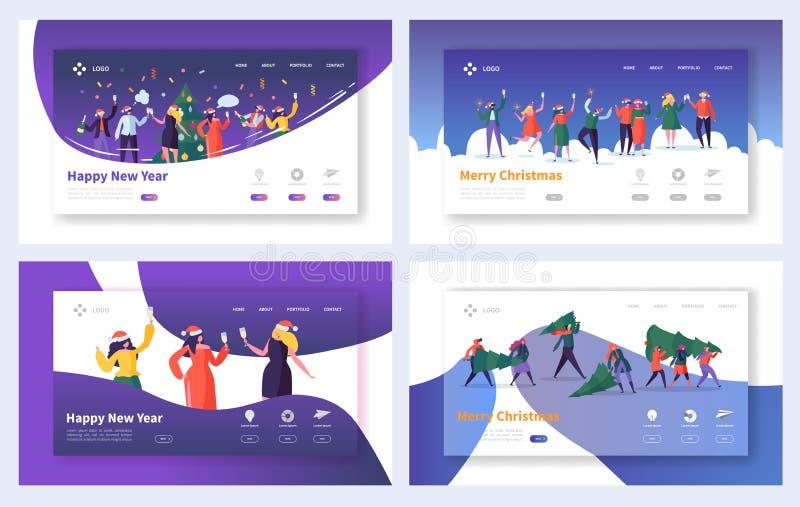 Biznesowy Korporacyjny Bożenarodzeniowy lądowanie strony set Szczęśliwi ludzie charakteru biura drużyny Świętują nowego roku dla  ilustracja wektor
