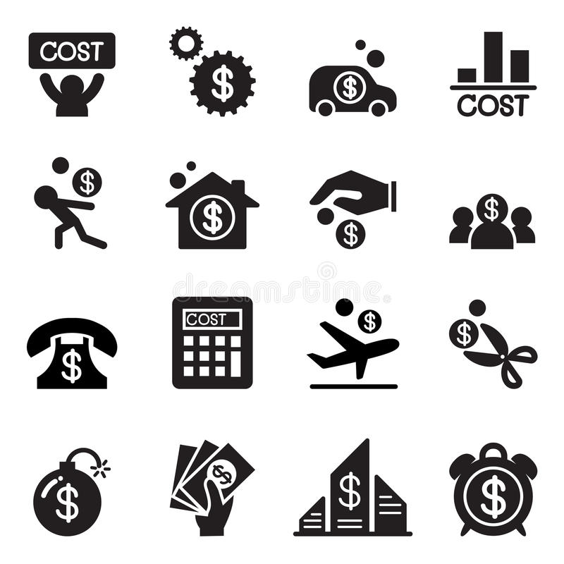 Biznesowy koszt ikony set ilustracja wektor