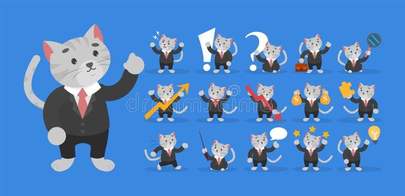 Biznesowy kot w czarnym kostiumu secie Biznesmena charakter ilustracji