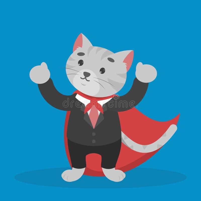 Biznesowy kot w czerwonej pelerynie Bohater w biurze ilustracja wektor