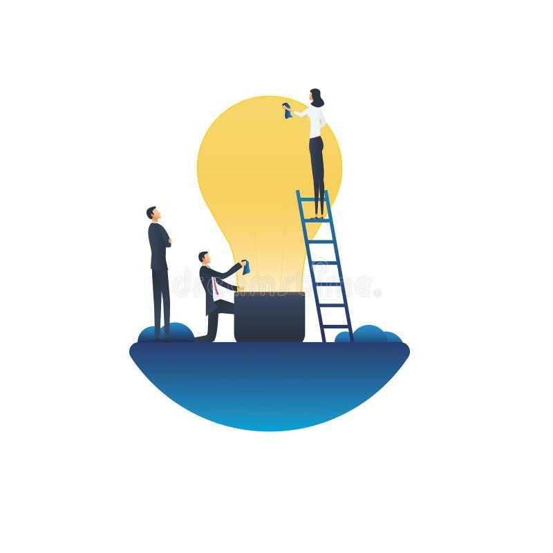 Biznesowy kreatywnie drużynowy wektorowy pojęcie Symbol innowacja, wymyślenie, brainstorming, praca zespołowa i twórczość, ilustracja wektor