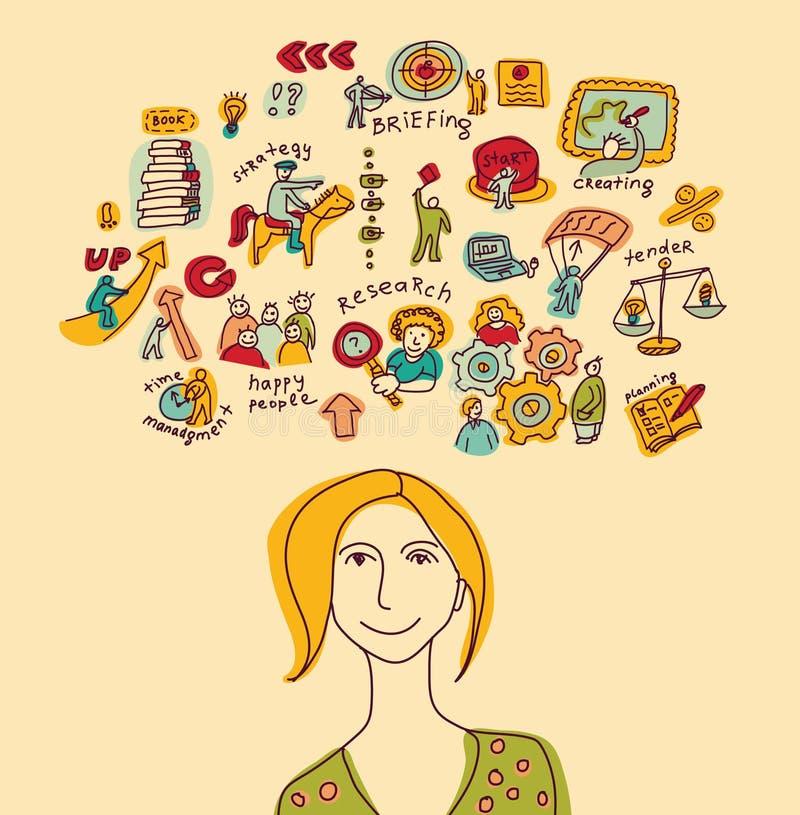 Biznesowy kreatywnie młoda kobieta kolor royalty ilustracja