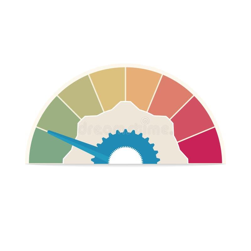 biznesowy Kredytowy wynik Zadowolenie klienta wskaźników poziomy Przyśpiesza ratingową ikony ilustrację Kolorowy grafika zapas royalty ilustracja