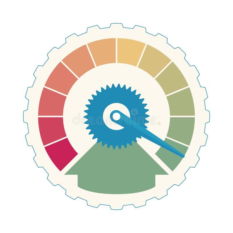 biznesowy Kredytowy wynik Zadowolenie klienta wskaźników poziomy Przyśpiesza ratingową ikony ilustrację Kolorowy grafika zapas ilustracja wektor