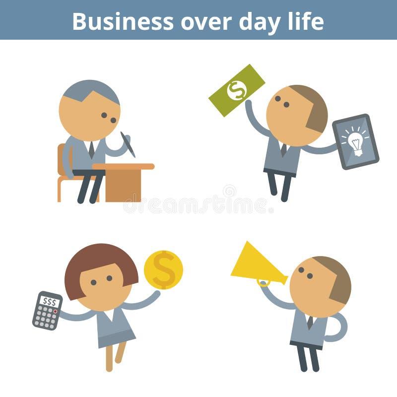 Biznesowy kreskówki avatar ustawiający: zarządzanie i sukces Wektorowy mieszkanie royalty ilustracja