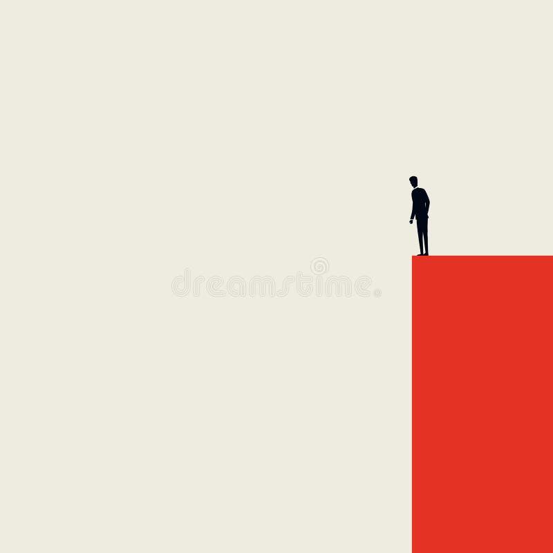 Biznesowy kryzysu, depresji lub burnout syndromu wektoru pojęcie, Minimalistyczny artystyczny styl Biznesmen pozycja na krawędzi royalty ilustracja