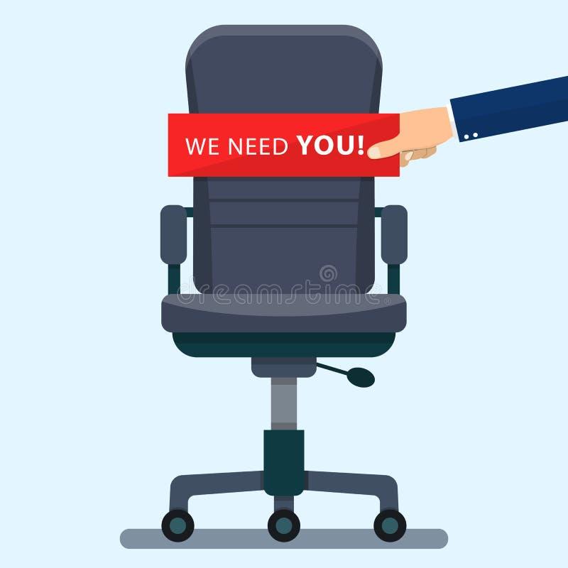 Biznesowy krzesło z ręki mienia kartonem royalty ilustracja