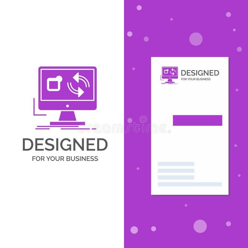 Biznesowy logo dla aktualizacji, app, zastosowanie, instaluje, synchronizacja Pionowo Purpurowy biznes, Odwiedza? Karcianego szab royalty ilustracja