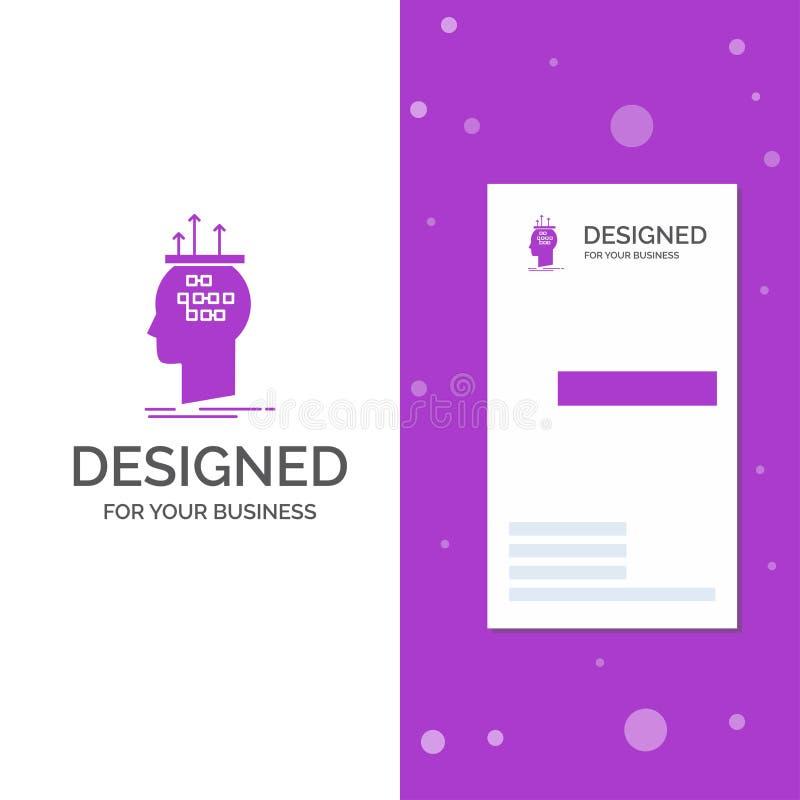 Biznesowy logo dla algorytmu, m?zg, wniosek, proces, my?le? Pionowo Purpurowy biznes, Odwiedza? Karcianego szablon/ kreatywnie royalty ilustracja