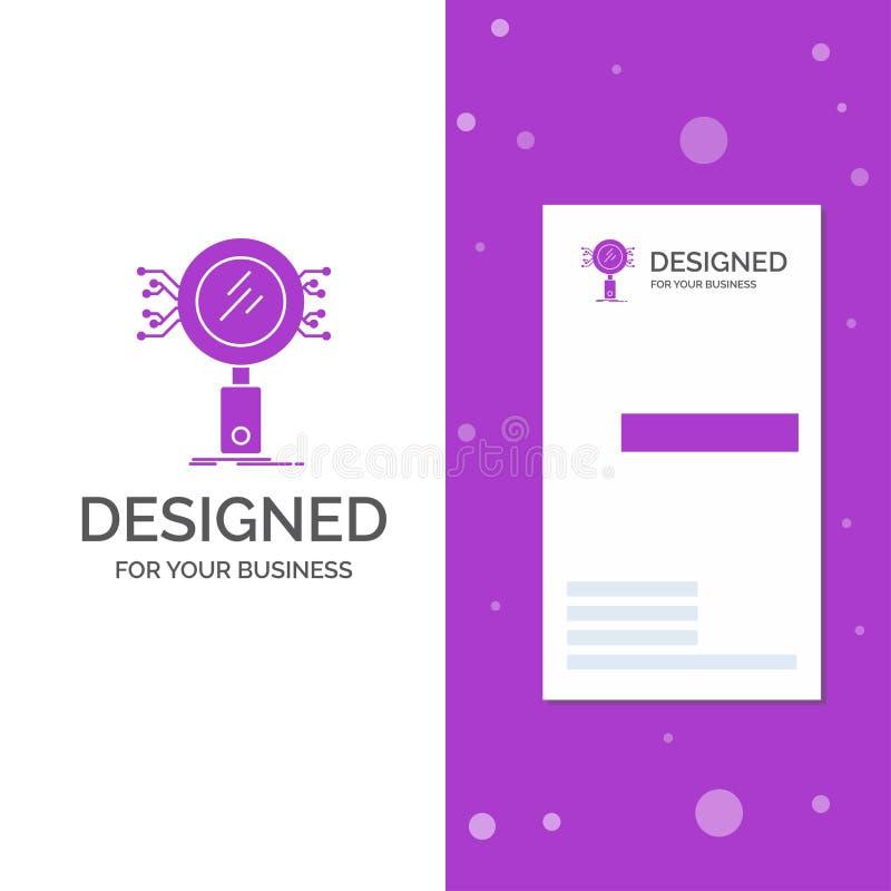 Biznesowy logo dla analizy, rewizja, informacja, badanie, ochrona Pionowo Purpurowy biznes, Odwiedza? Karcianego szablon/ kreatyw royalty ilustracja
