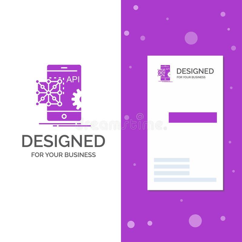 Biznesowy logo dla Api, zastosowanie, cyfrowanie, rozw?j, wisz?ca ozdoba Pionowo Purpurowy biznes, Odwiedza? Karcianego szablon/  ilustracja wektor