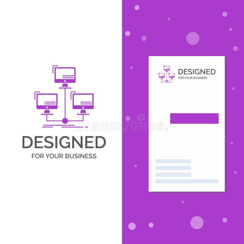 Biznesowy logo dla baza danych, zakłócający, związek, sieć, komputer Pionowo Purpurowy biznes, Odwiedza? Karcianego szablon/ royalty ilustracja
