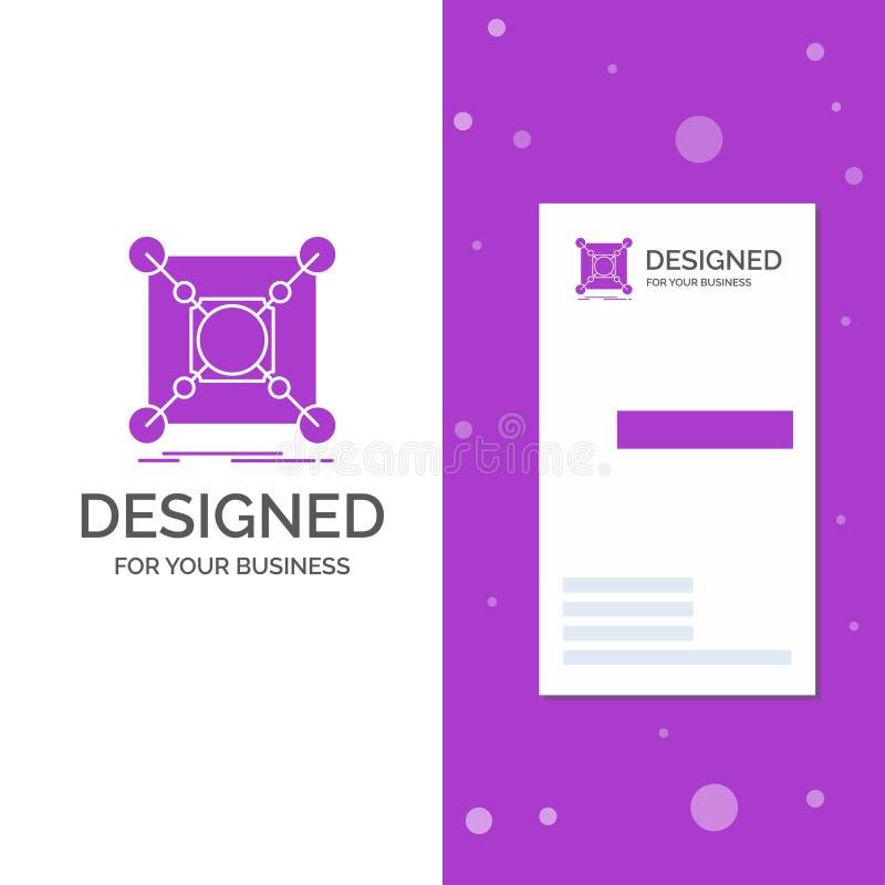 Biznesowy logo dla bazy, centrum, związek, dane, centrum Pionowo Purpurowy biznes, Odwiedza? Karcianego szablon/ kreatywne t?o ilustracja wektor
