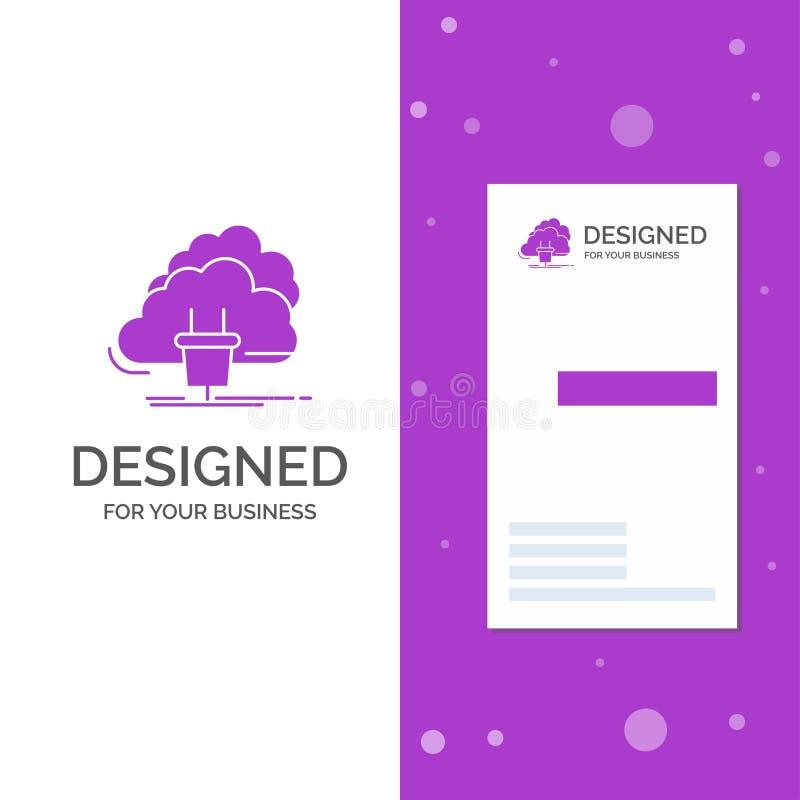 Biznesowy logo dla chmury, związek, energia, sieć, władza Pionowo Purpurowy biznes, Odwiedza? Karcianego szablon/ kreatywnie royalty ilustracja