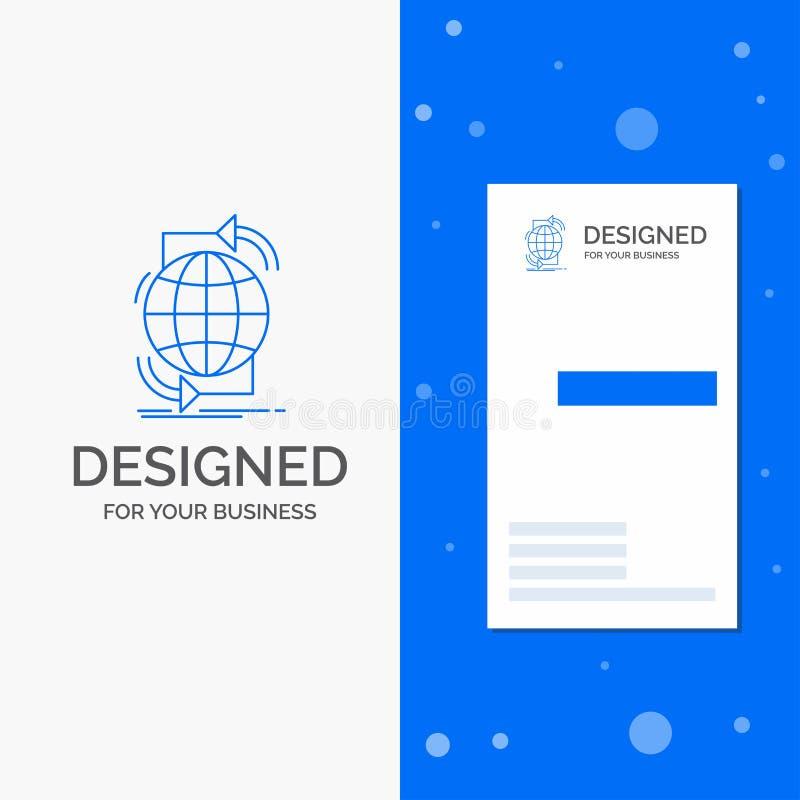 Biznesowy logo dla ??czliwo?ci, globalny, internet, sie?, sie? Pionowo B??kitny biznes, Odwiedza? Karcianego szablon/ ilustracja wektor