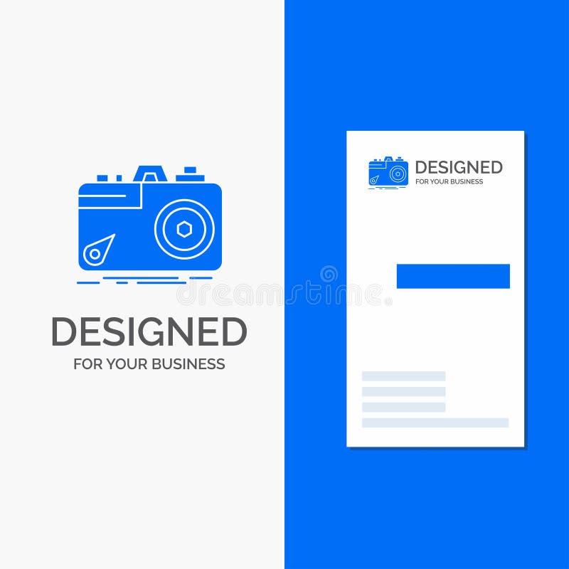Biznesowy logo dla kamery, fotografia, zdobycz, fotografia, apertura Pionowo B??kitny biznes, Odwiedza? Karcianego szablon/ royalty ilustracja
