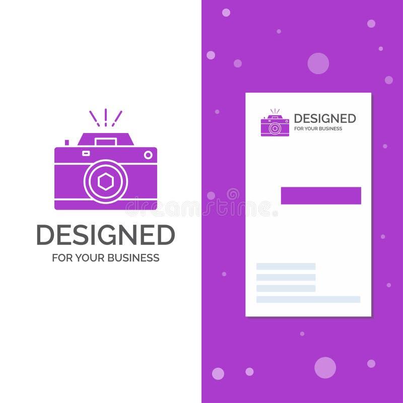 Biznesowy logo dla kamery, fotografia, zdobycz, fotografia, apertura Pionowo Purpurowy biznes, Odwiedza? Karcianego szablon/ krea ilustracja wektor