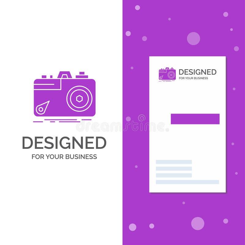 Biznesowy logo dla kamery, fotografia, zdobycz, fotografia, apertura Pionowo Purpurowy biznes, Odwiedza? Karcianego szablon/ krea royalty ilustracja