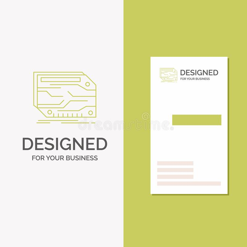Biznesowy logo dla karty, składnik, zwyczaj, elektroniczny, pamięć Pionowo Zielony biznes, Odwiedzać Karcianego szablon/ kreatywn royalty ilustracja