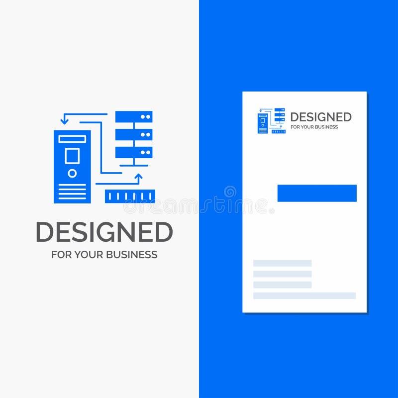 Biznesowy logo dla kombinacji, dane, baza danych, elektroniczny, informacja Pionowo B??kitny biznes, Odwiedza? Karcianego szablon ilustracji