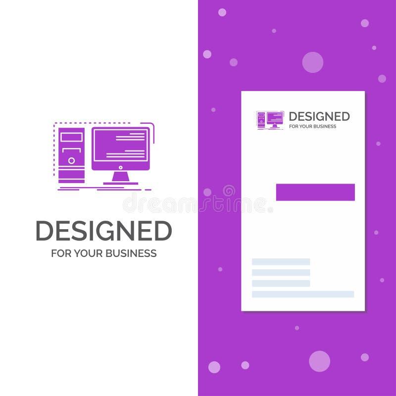 Biznesowy logo dla komputeru, desktop, narz?dzia, stacja robocza, system Pionowo Purpurowy biznes, Odwiedza? Karcianego szablon/  royalty ilustracja