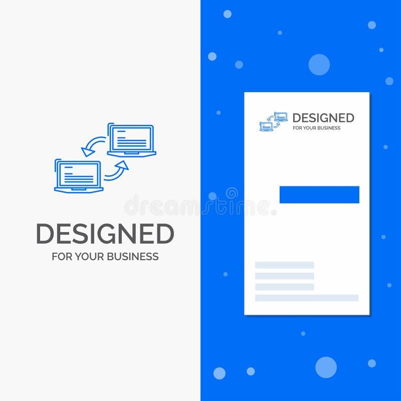 Biznesowy logo dla komputeru, związek, połączenie, sieć, synchronizacja Pionowo B??kitny biznes, Odwiedza? Karcianego szablon/ ilustracji