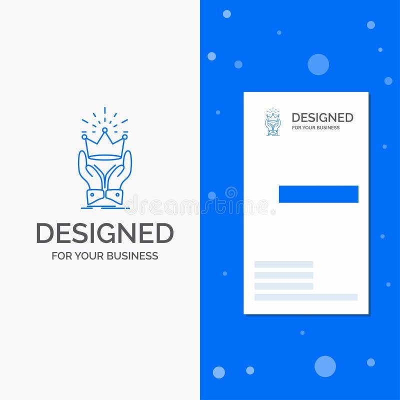 Biznesowy logo dla korony, honor, królewiątko, rynek, królewski Pionowo B??kitny biznes, Odwiedza? Karcianego szablon/ ilustracji