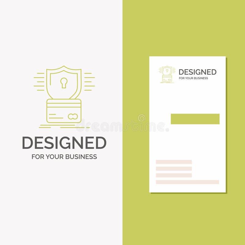 Biznesowy logo dla ochrony, karta kredytowa, karta, sieka, kilof Pionowo Zielony biznes, Odwiedza? Karcianego szablon/ kreatywnie ilustracja wektor