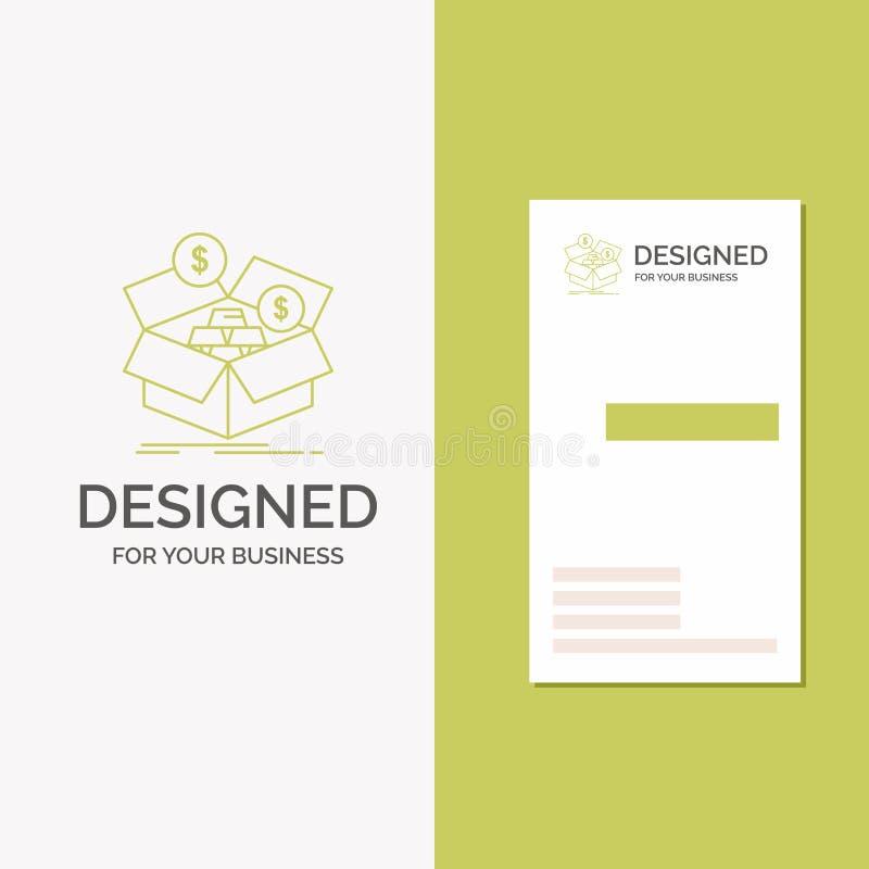 Biznesowy logo dla oszcz?dza?, pude?ko, bud?et, pieni?dze, przyrost Pionowo Zielony biznes, Odwiedza? Karcianego szablon/ kreatyw ilustracja wektor