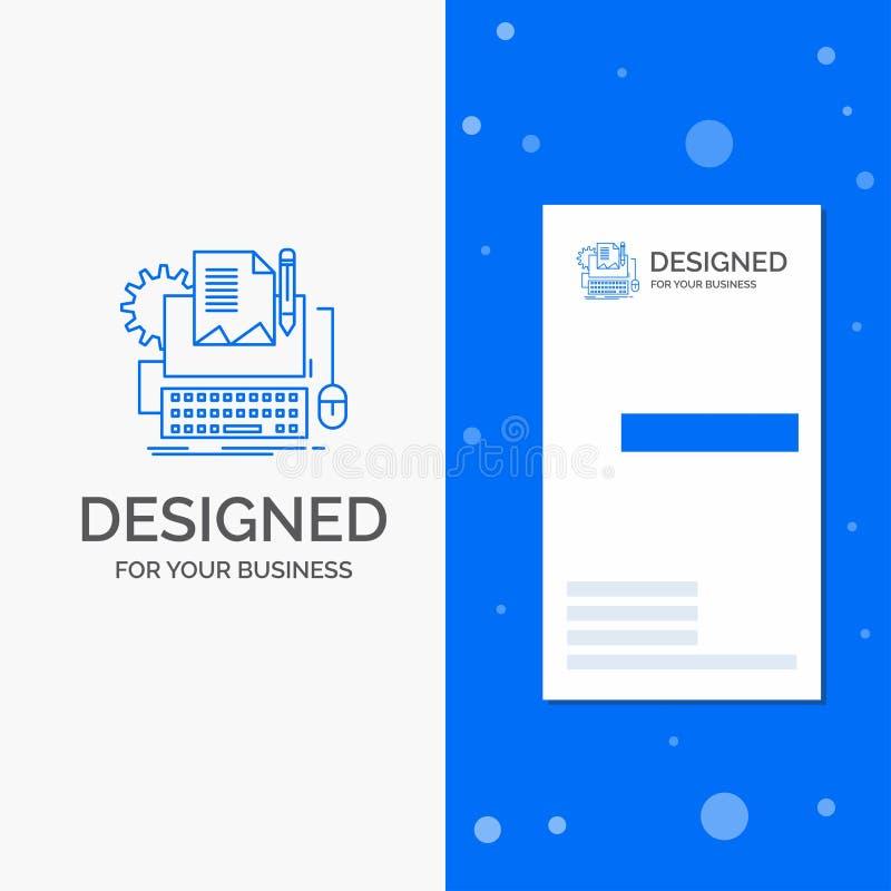Biznesowy logo dla typu pisarz, papier, komputer, papier, klawiatura Pionowo B??kitny biznes, Odwiedza? Karcianego szablon/ royalty ilustracja