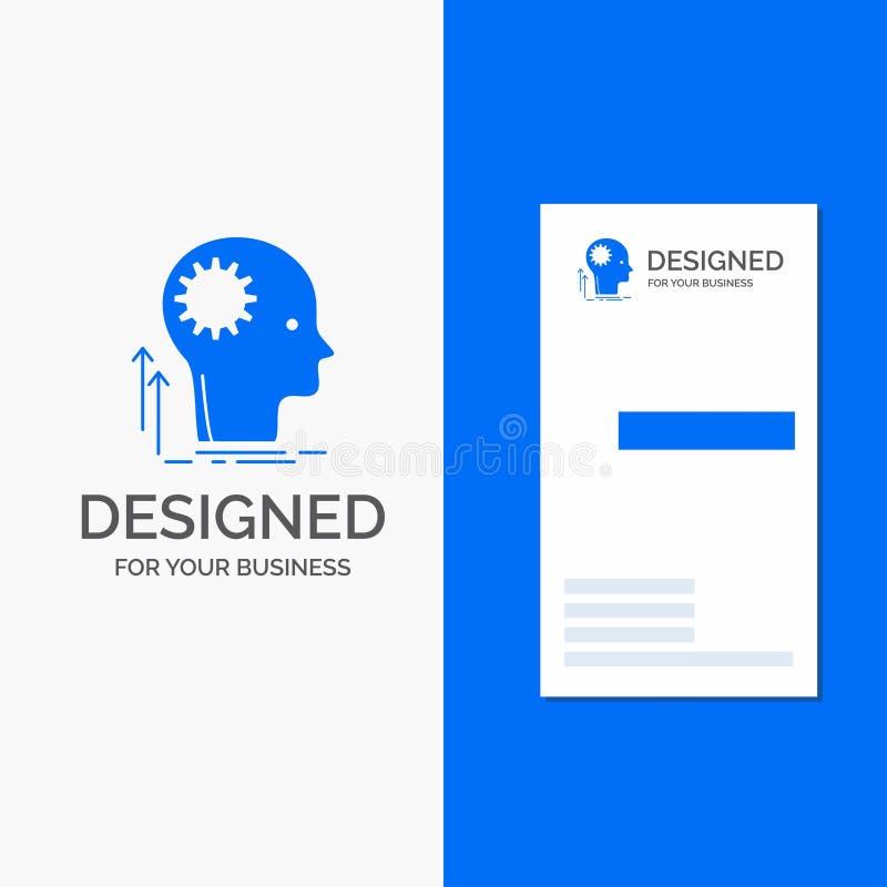 Biznesowy logo dla umys?u, Kreatywnie, g??wkowanie, pomys?, brainstorming Pionowo B??kitny biznes, Odwiedza? Karcianego szablon/ ilustracja wektor