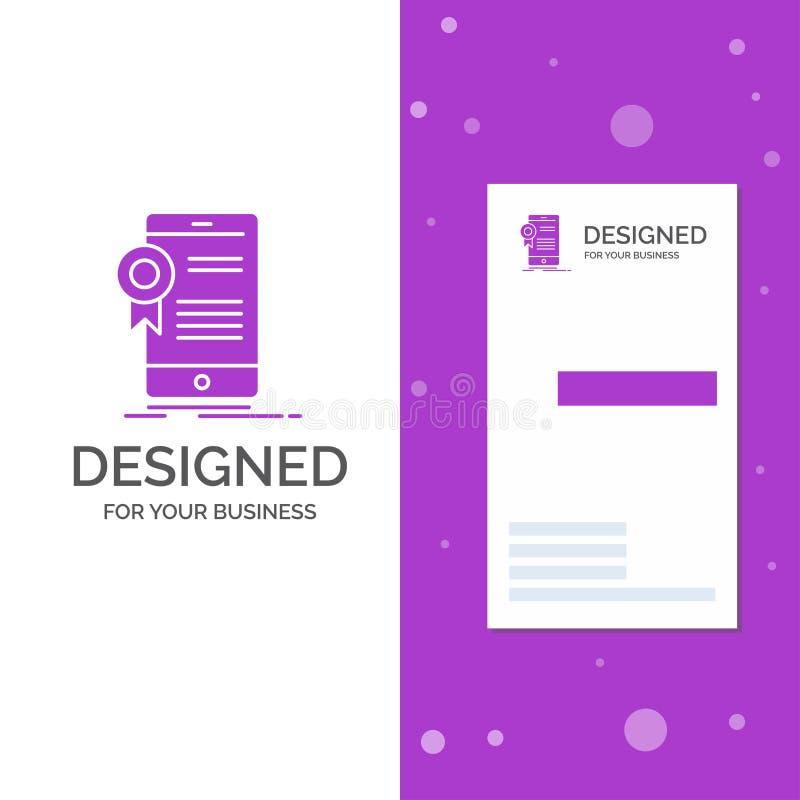 Biznesowy logo dla ?wiadectwa, certyfikat, App, zastosowanie, zatwierdzenie Pionowo Purpurowy biznes, Odwiedza? Karcianego szablo royalty ilustracja