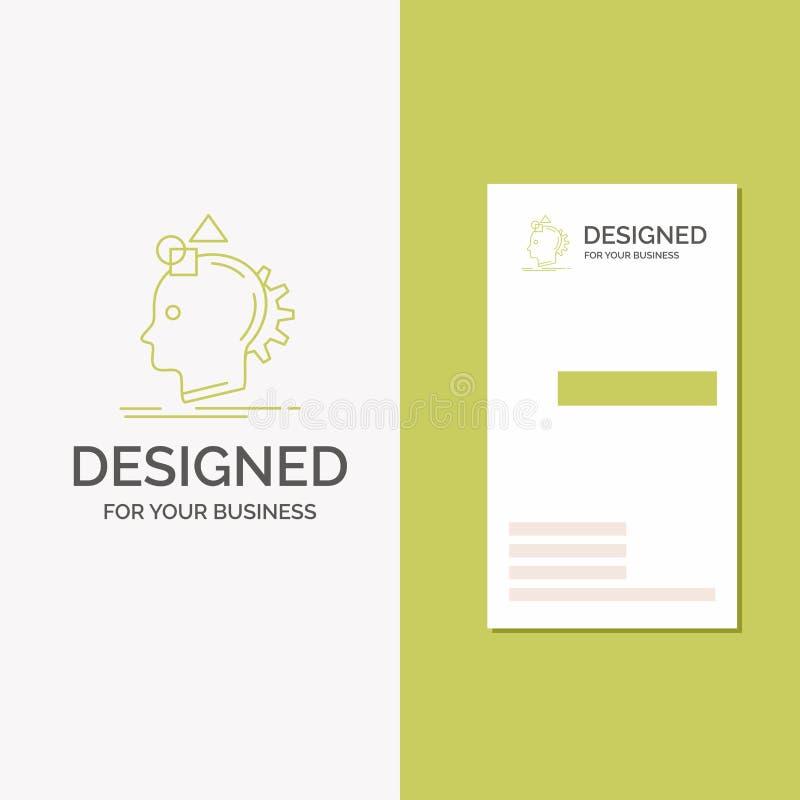 Biznesowy logo dla wyobra?ni, polotny, wyobra?a sobie, pomys?, proces Pionowo Zielony biznes, Odwiedza? Karcianego szablon/ kreat ilustracji