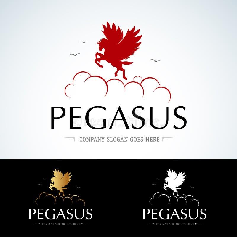 Biznesowy logo Pegas lata na chmurach Różni kolory: czerwień, złoto i biel, Wektorowy ilustracyjny format ilustracji