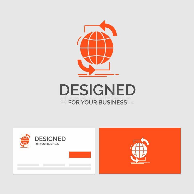 Biznesowy logo szablon dla łączliwości, globalny, internet, sieć, sieć Pomara?cze Odwiedza karty z gatunku logo szablonem royalty ilustracja