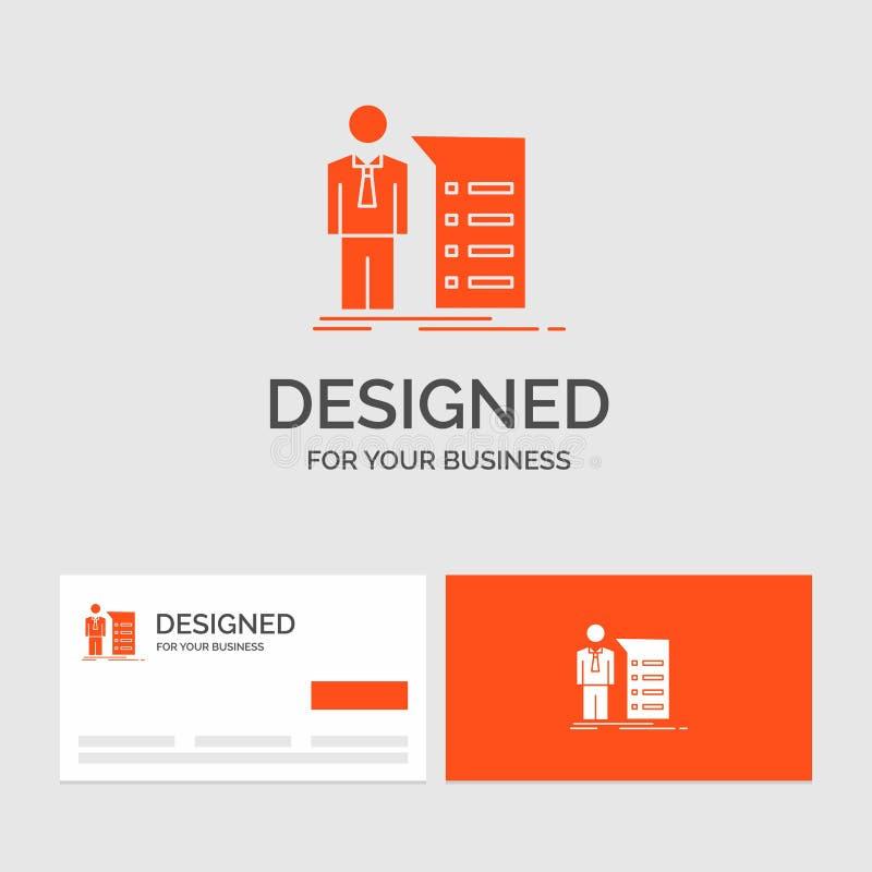 Biznesowy logo szablon dla biznesu, wyjaśnienie, wykres, spotkanie, prezentacja Pomara?cze Odwiedza karty z gatunku logo szablone ilustracji