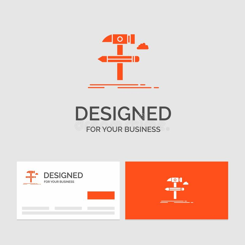 Biznesowy logo szablon dla budowy, projekt, rozwija, wyt?acza wzory, narz?dzia Pomara?cze Odwiedza karty z gatunku logo szablonem ilustracja wektor